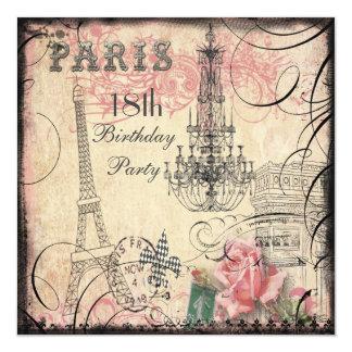 Chic Eiffel Tower & Chandelier 18th Birthday 13 Cm X 13 Cm Square Invitation Card