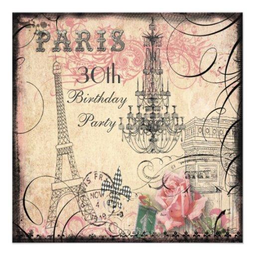 Chic Eiffel Tower & Chandelier 30th Birthday Custom Invitation