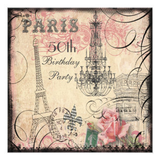 Chic Eiffel Tower Chandelier 50th Birthday Invitation