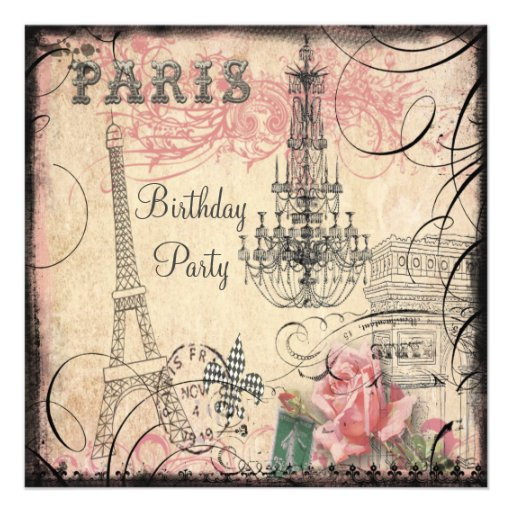 Chic Eiffel Tower & Chandelier Any Age Birthday Personalized Invite