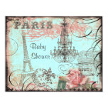 Chic Eiffel Tower & Chandelier Baby Shower Personalized Announcement