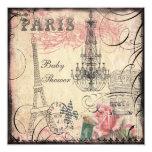Chic Eiffel Tower & Chandelier Baby Shower Invitations