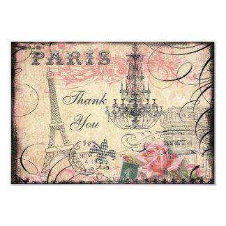Chic Eiffel Tower & Chandelier Thank You Wedding 9 Cm X 13 Cm Invitation Card