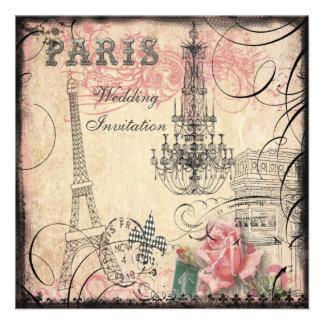 Chic Eiffel Tower Chandelier Wedding Custom Invitation