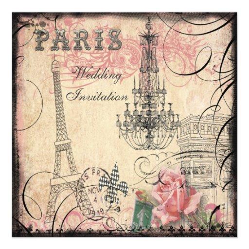 Chic Eiffel Tower & Chandelier Wedding Custom Invitation