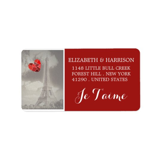 Chic Eiffel Tower Je T'aime Wedding Label