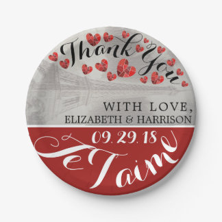 Chic Eiffel Tower Je T'aime Wedding Paper Plate