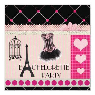 Chic Eiffel Tower Pink Paris Bachelorette Party 13 Cm X 13 Cm Square Invitation Card