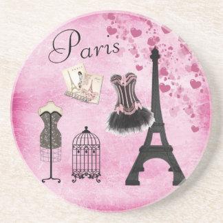 Chic Eiffel Tower Pink Paris Fashion Coaster