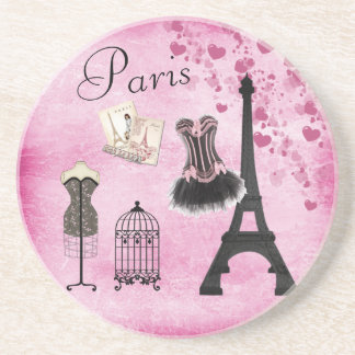 Chic Eiffel Tower Pink Paris Fashion Drink Coaster
