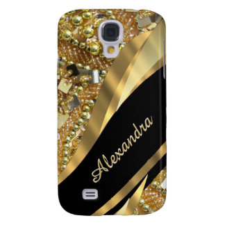 Chic elegant black and gold bling personalized galaxy s4 case