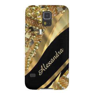 Chic elegant black and gold bling personalized galaxy s5 covers