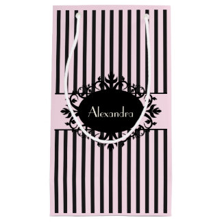 Chic Elegant Black and Pink Ornate Parisian Stripe Small Gift Bag