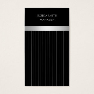 Chic elegant black/white discrete stripes business card