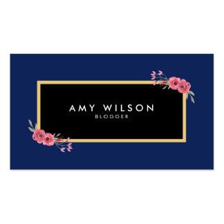 Chic Elegant Blogger Social Media Blue Floral Pack Of Standard Business Cards