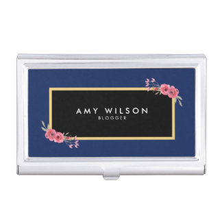 Chic Elegant Blue and Pink Watercolor Floral Business Card Holder