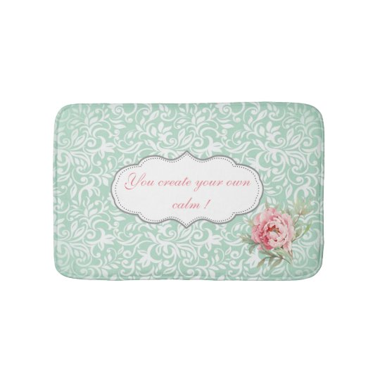 Chic Elegant Damask, Roses,Motivational Message Bath Mat