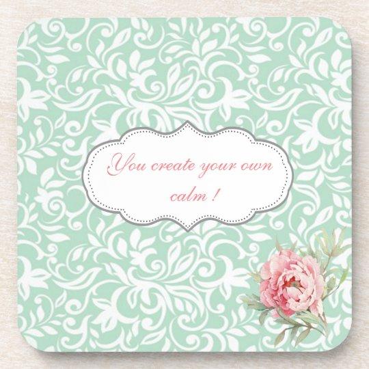 Chic Elegant Damask, Roses,Motivational Message Coaster