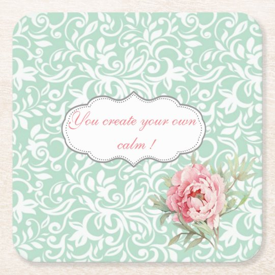 Chic Elegant Damask, Roses,Motivational Message Square Paper