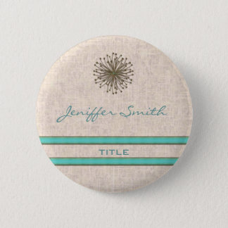 Chic elegant dandelion turquoise stripes 6 cm round badge