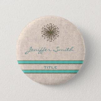 Chic elegant dandelion turquoise stripes 6 cm round badge