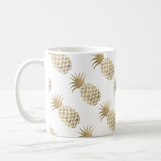 Chic elegant faux gold pineapple coffee time coffee