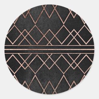 Chic & Elegant Faux Rose Gold Geometric Triangles Classic Round Sticker