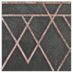 Chic & Elegant Faux Rose Gold Geometric Triangles Fabric