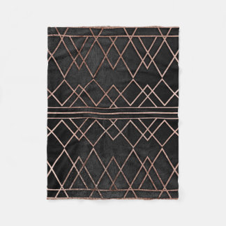Chic & Elegant Faux Rose Gold Geometric Triangles Fleece Blanket