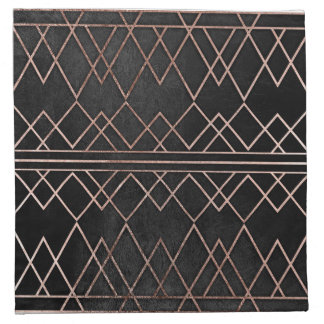 Chic & Elegant Faux Rose Gold Geometric Triangles Napkin