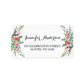 Chic Elegant Floral Rose Wedding RSVP Label