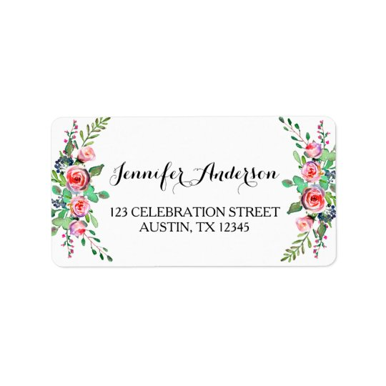 Chic Elegant Floral Rose Wedding RSVP Label