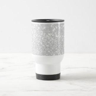 chic elegant glamour White Faux Glitter Travel Mug