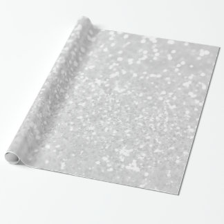 chic elegant glamour White Faux Glitter Wrapping Paper