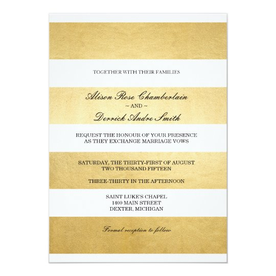 Chic Elegant Gold foil & white wedding invitation