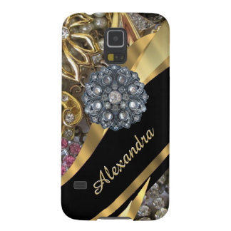 Chic elegant gold rhinestone bling personalized galaxy s5 case