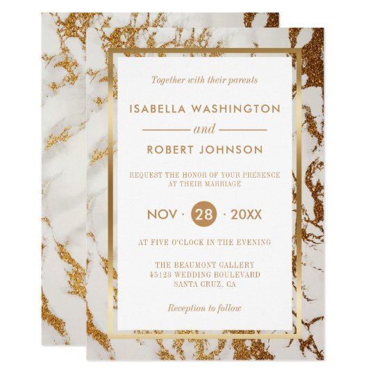 Chic Elegant Gold & White Marble Modern Wedding