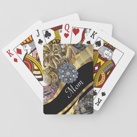 Chic elegant personalised mum playing cards