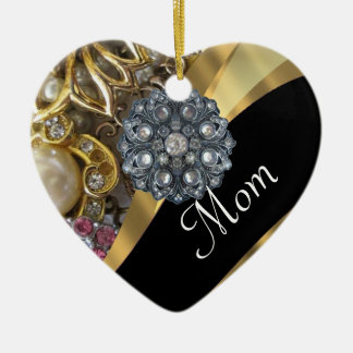 Chic elegant personalized mom ceramic heart decoration