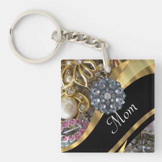 Chic elegant personalized mom Double-Sided square acrylic key ring