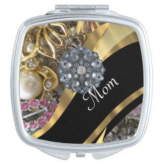 Chic elegant personalized mom makeup mirror