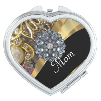 Chic elegant personalized mom makeup mirrors