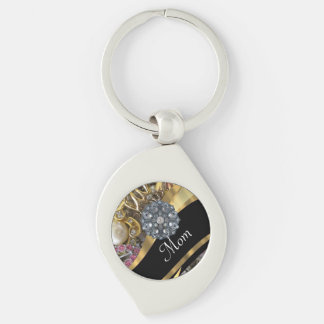 Chic elegant personalized mom Silver-Colored swirl key ring