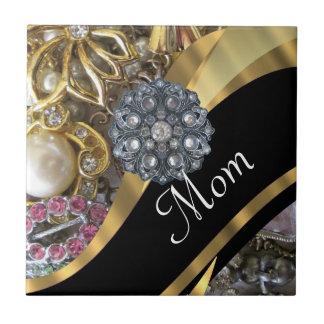 Chic elegant personalized mom small square tile
