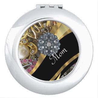 Chic elegant personalized mom travel mirrors