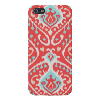 Chic elegant red and turquoise tribal ikat print case for iPhone 5/5S