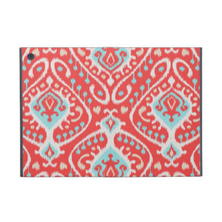 Chic elegant red and turquoise tribal ikat print cover for iPad mini