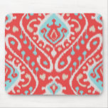 Chic elegant red and turquoise tribal ikat print mousepads