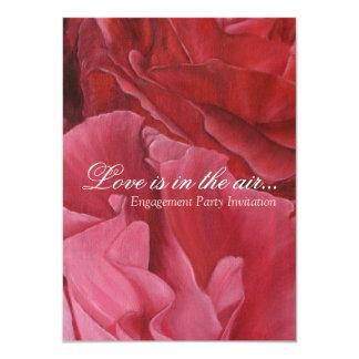 Chic elegant red roses engagement party invites