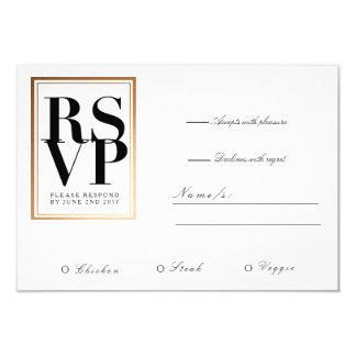 Chic & Elegant RSVP | Gold Foil Frame Accent 9 Cm X 13 Cm Invitation Card